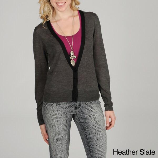 Hanna & Gracie Women's Black-trim Button Cardigan