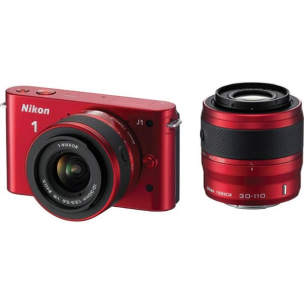 Nikon J1 10.1MP Mirrorless Red Digital SLR Camera with 10-30mm VR Zoom Lens