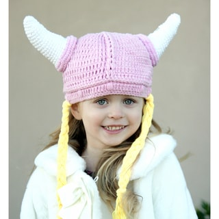 Handmade Knit Pink Girl Viking Hat
