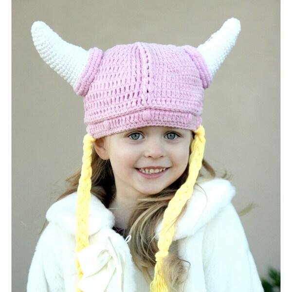Handmade Knit Pink Girl Viking Hat