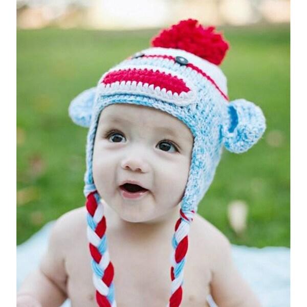 Handmade Red Blue Sock Monkey Knit Hat