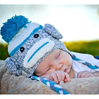 Handmade Blue Sock Monkey Knit Hat
