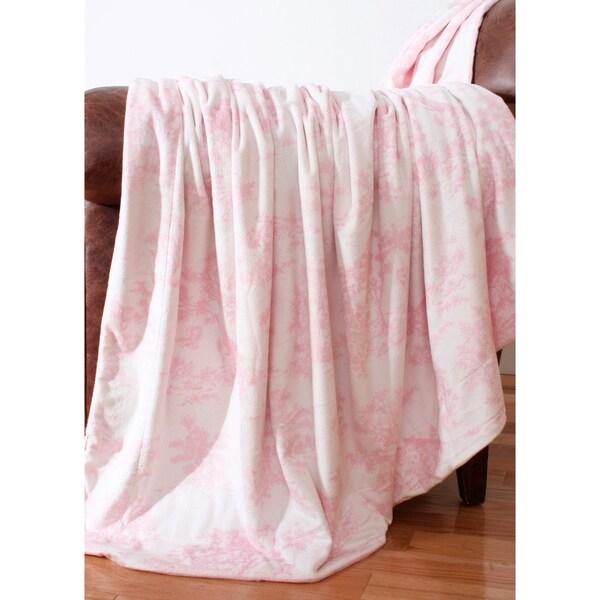 Kids Pink Toile Microplush 44x60-inch Throw