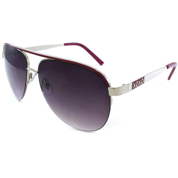 XOXO Women's Silver and Pink Aviator Sunglasses
