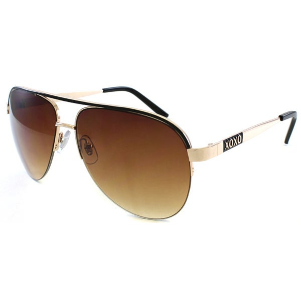 XOXO Women's Gold and Black Aviator Sunglasses