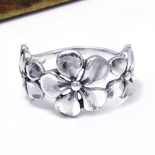 Handmade Hawaiian Style Triple Flower .925 Sterling Silver Ring (Thailand)