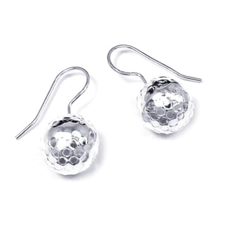 Handmade Mod Hammered 12mm Ball .925 Silver Hook Earrings (Thailand)