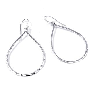Handmade Hammered Teardrop Sterling Silver Dangle Earrings (Thailand)