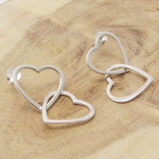 Unique Double Tangle Heart Sterlng Silver Earrings (Thailand)