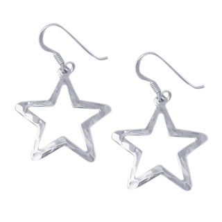 Handmade See Through Retro Hammered Star Drop .925 Silver Earrings (Thailand)