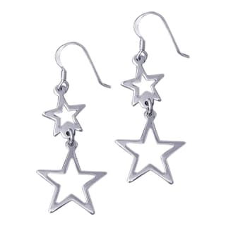 Double See Through Retro Star Drop .925 Silver Earrings (Thailand)