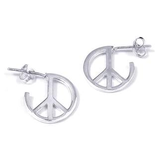 Handmade Contempo Quarter Round Peace Sign .925 Silver Earrings (Thailand)