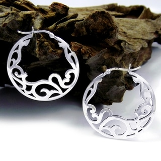 Delicate Filigree Swirl .925 Silver Hoop Earrings (Thailand)