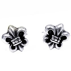 Handmade Petite Saint Fleur de Lis Saints .925 Silver Stud Earrings (Thailand)