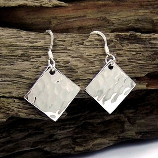 Handmade Hammer Texture Tilted Square .925 Silver Earrings (Thailand)