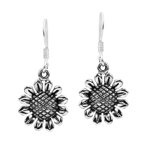Handmade Charming Sunflower Sterling Silver Dangle Earrings (Thailand)