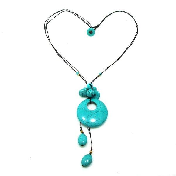 Handmade Trendy Round Donut Turquoise Stone Necklace (Thailand)