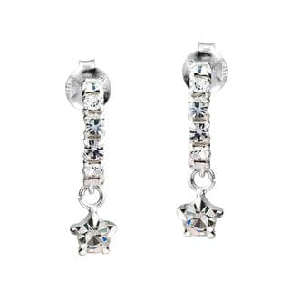 Handmade Dainty Round White CZ Dangle .925 Silver Post Earrings (Thailand)