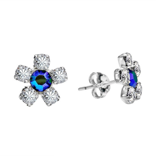 4117779e2 Handmade Pretty Daisy CZ Flower .925 Sterling Silver Stud Earrings  (Thailand)