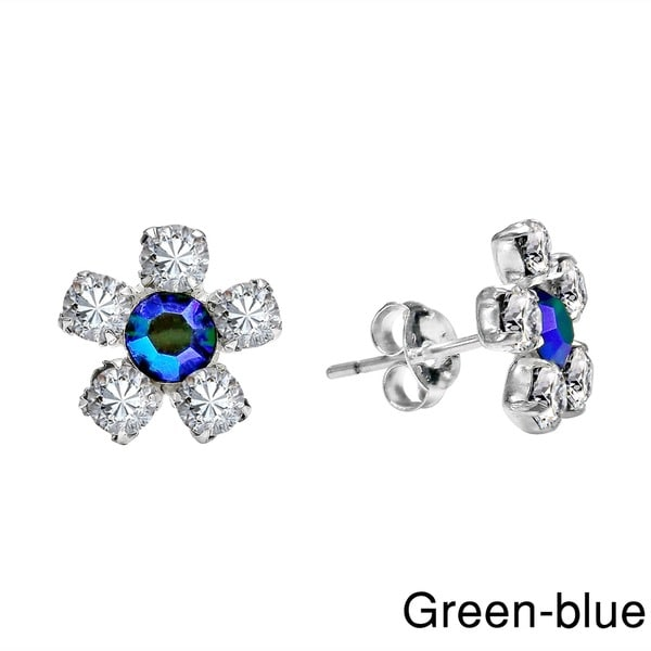 Handmade Pretty Daisy CZ Flower .925 Sterling Silver Stud Earrings (Thailand)