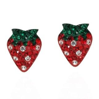 Handmade Strawberry Sensation CZ .925 Silver Stud Earrings (Thailand)