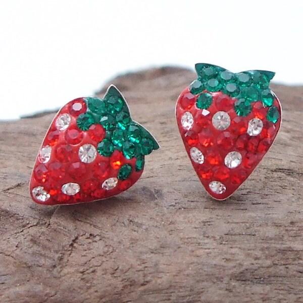 Strawberry Sensation CZ .925 Silver Stud Earrings (Thailand)