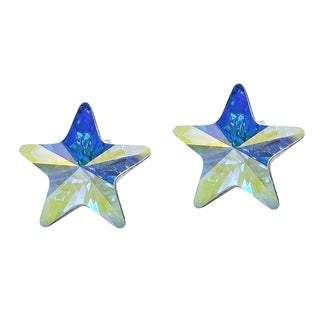 Handmade Prism Rainbow Crystal Star .925 Silver Earrings (Thailand)