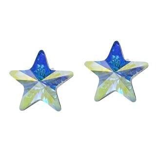 Handmade Prism Rainbow Crystal Star .925 Silver Earrings (Thailand)