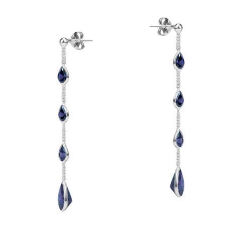 Handmade Tiered Purple CZ Tear Drop Link .925 Silver Earrings (Thailand)