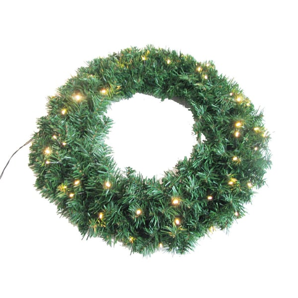 Battery Operated 24-inch Wreath with 50 Soft White LED Lights and 250 Tips