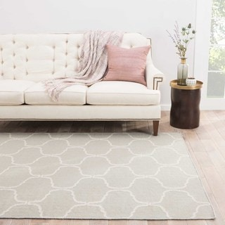 Lark Handmade Trellis Light Gray/ White Area Rug (9' X 12')