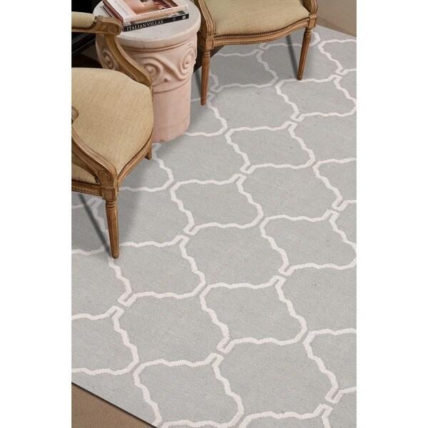 """Lark Handmade Trellis Light Gray/ White Area Rug (3'6"""" X 5'6"""")"""