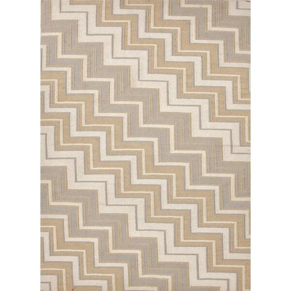 Handmade Flat Weave Geometric Beige/ Brown Reversible Wool Rug (9' x 12')
