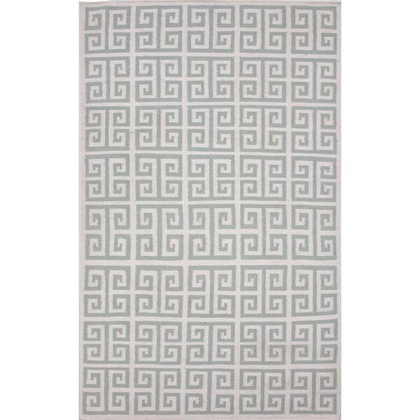 Handmade Flat Weave Flat-pile Geometric Blue Wool Rug (8' x 10')
