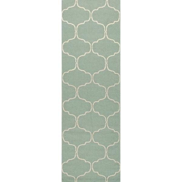 Handmade Geometric Flat Weave Blue Wool Runner (2'6 x 8')