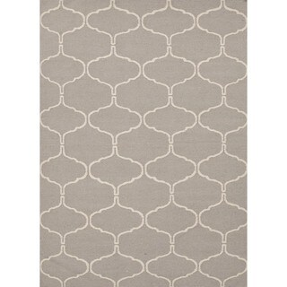 Handmade Geometric Flat Weave Gray Wool Rug (9' x 12')