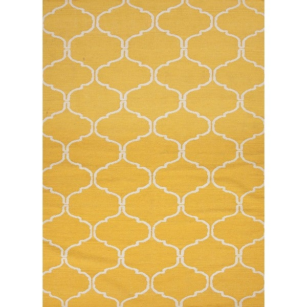 Handmade Geometric Flat Weave Yellow Wool Rug (5' x 8')