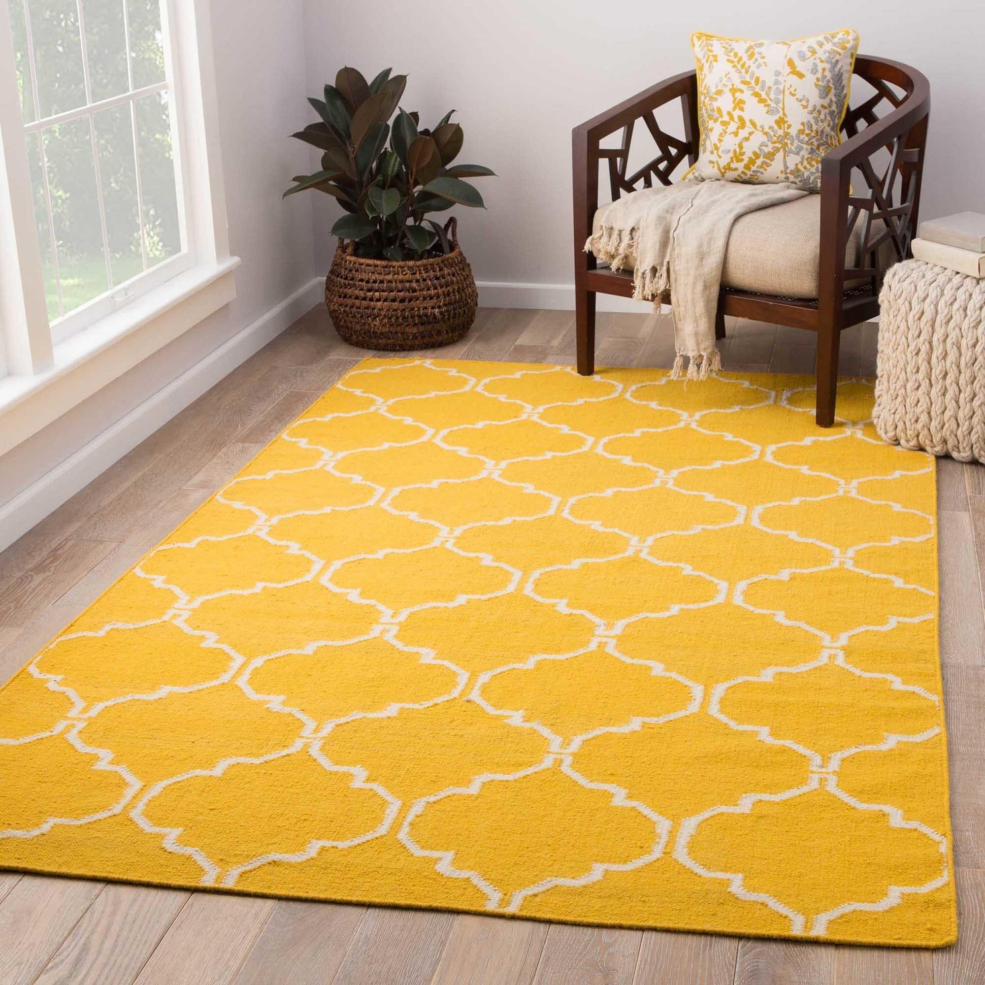 Juniper Home Lark Handmade Trellis Yellow/ White Area Rug...