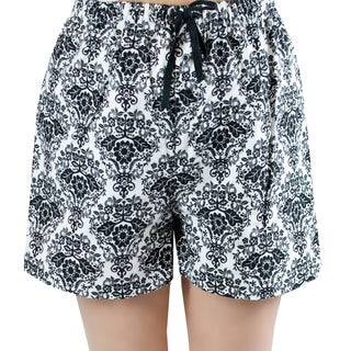 Leisureland Women's White and Black Damask Flannel Boxer Shorts