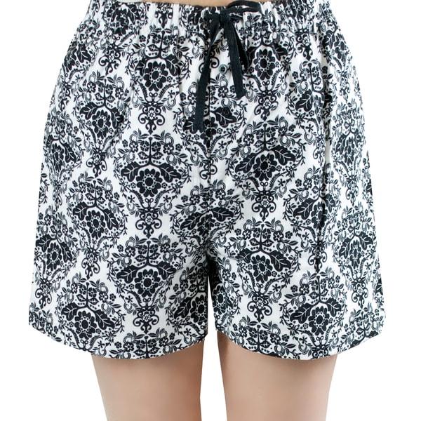 Leisureland Women's White and Black Damask Flannel Boxer Shorts