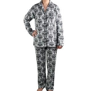 Leisureland Women's White/ Black Damask Brushed Cotton Pajama Set