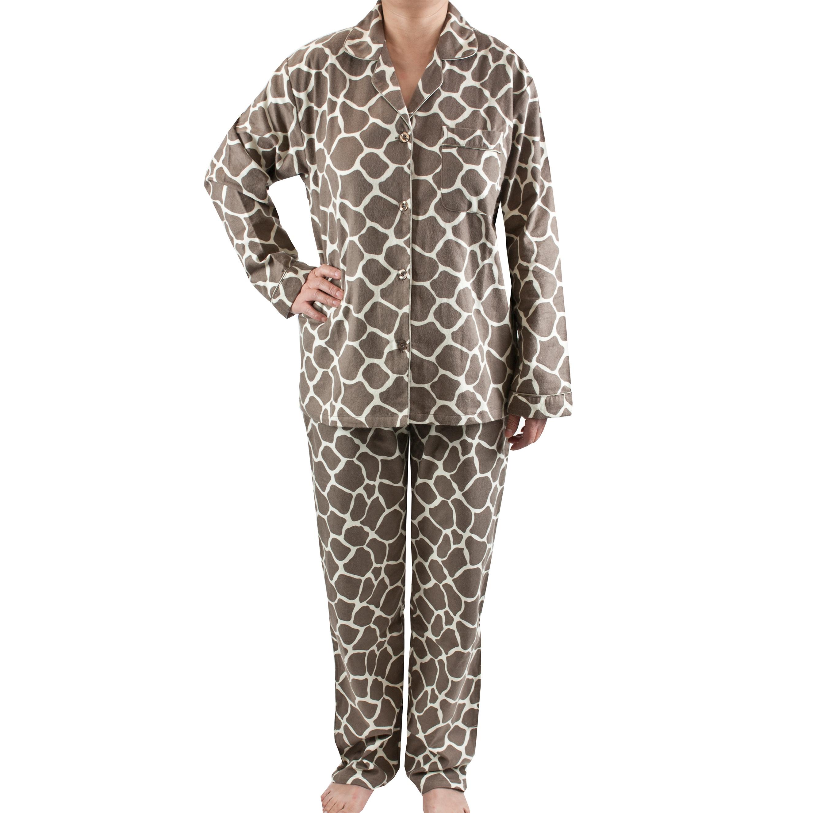Leisureland Women's Giraffe Print Brushed Cotton Pajama S...