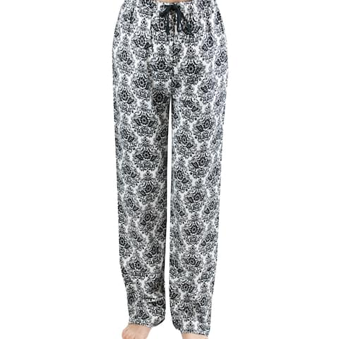 Leisureland Women's White/ Black Damask Flannel Lounge Pants