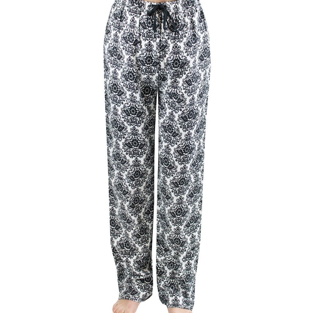 Leisureland Womens White/ Black Damask Flannel Lounge Pants