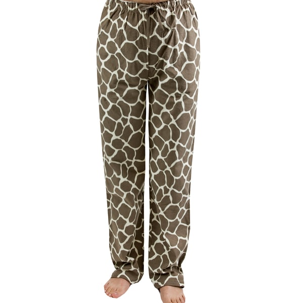 Leisureland Women's Giraffe Print Flannel Lounge Pants