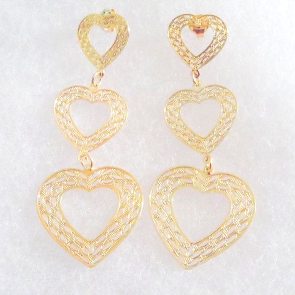 18k Gold Triple Heart Stud Large Stud Earrings