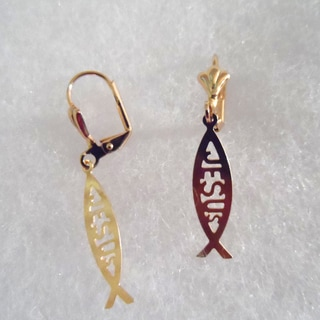 18k Gold Plated Jesus Fish Earrings