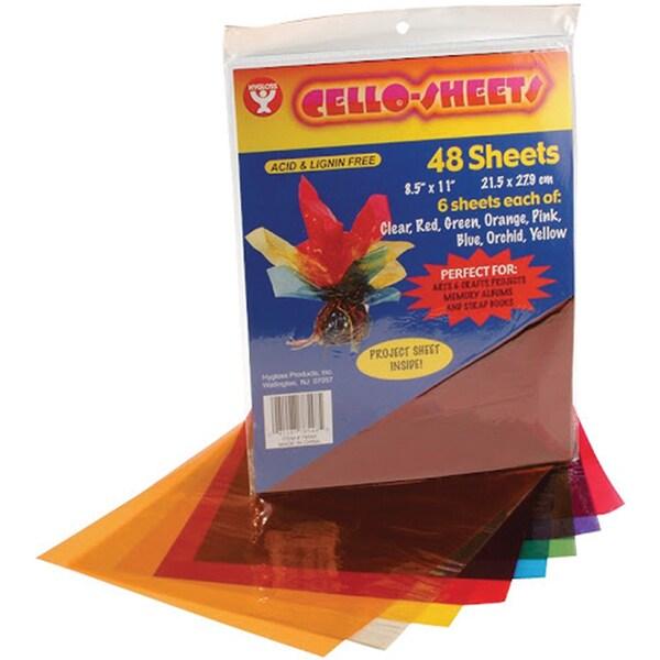 """Cello Sheets 8-1/2""""X11"""" 48/Pkg-6 Each Of 8 Colors"""