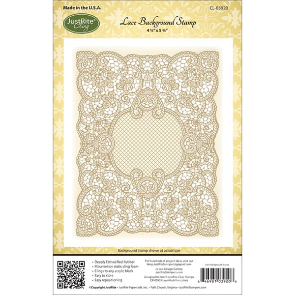 """JustRite Stampers Cling Background Stamp 4-1/2""""X5-3/4""""-Lace"""