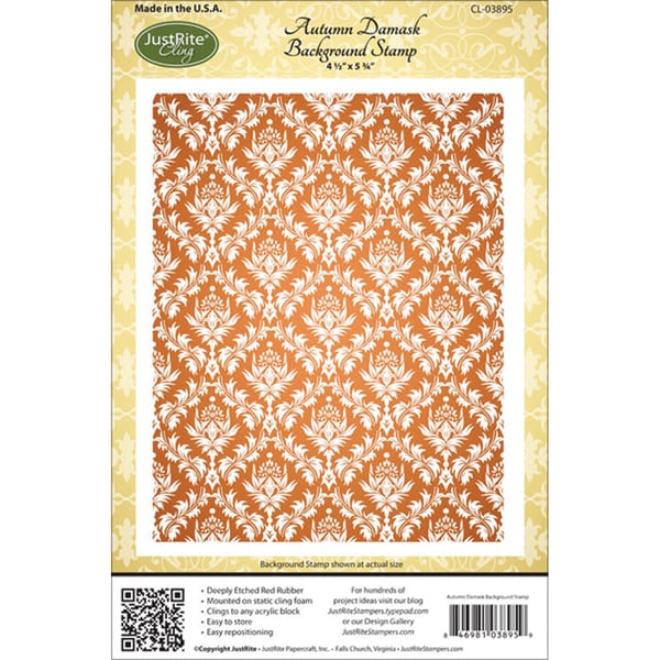 """JustRite Stampers Cling Background Stamp 4-1/2""""X5-3/4""""-Autumn Damask"""